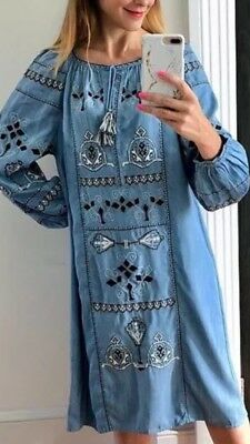 BNWT - ZARA EMBROIDERED DENIM TUNIC DRESS SMALL SOLD OUT BLUE DENIM Long Sleeve