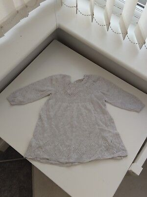 Next Girls Knitted Gray Dress Age 6-9 Months