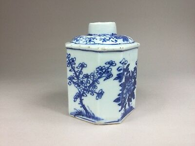 19th C. Chinese Blue and White Octagonal Tea Caddy