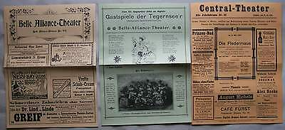 Berlin 1900 & 1906 Belle Alliance Theater und Central Theater Programm Zettel RP