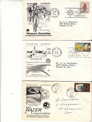 CANADA, 6 EARLY, PRISTINE FDCs FROM 1967, 68.