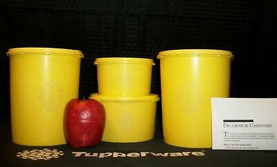 Tupperware 4 DAFFODIL YELLOW Decorator Canisters 2 4 8 cups ~Servalier Seals