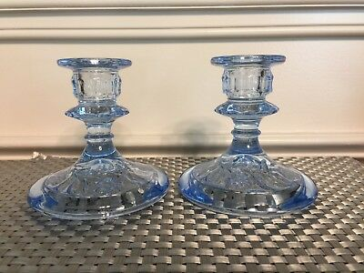 Pair of Cambridge Pale Blue Candle Holders