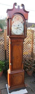 "Antique ""4 Hand"" Longcase Clock. Moon Phase. 8 Day. Timings Dudley. c1810"