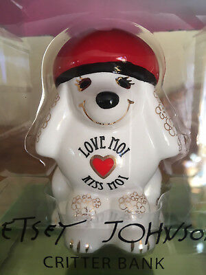 Betsey Johnson Critter Bank White French Poodle Love Moi Kiss Moi Figurine