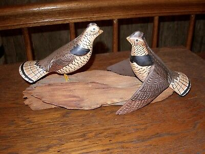 Hand Carved And Painted Pair Of Grouse Birds