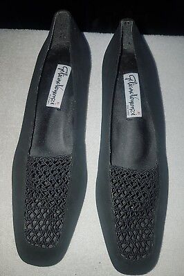 Ladies size 8 black leather court shoes flats hardly worn great quality lovely!