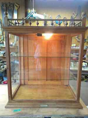 Antique Oak Knittel Quincy IL 2 general store display cabinet lighted wavy glass