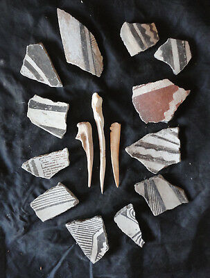 12 Outstanding Mimbres Pottery Shards Combined With 3 Mimbres Bone Awls