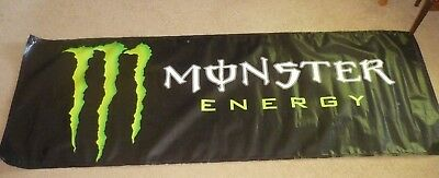 Authentic Monster Energy Drink Vinyl Banner 8' x 3' with Metal Grommets