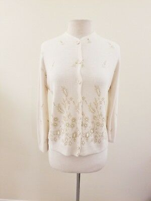 Vintage 60's Women's Cream Featherknits Cardigan w/Gold Lurex Embroidery - XL