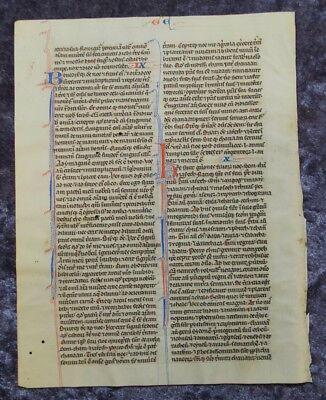 Decorativ Big Illuminated Manuscript Leaf Bible Vellum Paris 1250/75 #c078