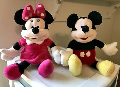 "Disney Mickey and Minnie Mouse BANKS Plush Dolls 12"" EXCELLENT Condition"