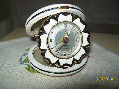 Retro Art Deco 40s-50s Peter brass windup Travel Alarm Clock in leather Case GWO
