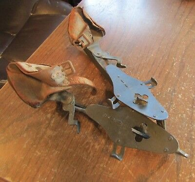 VTG Winslow's National Club Ice Skates Leather Clip Clamp On Size 10.5 Antique