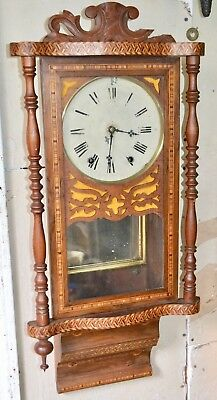 Antique Ansonia 8 Day Time Bell Strike Wall Regulator Clock Great Inlay ATLAS