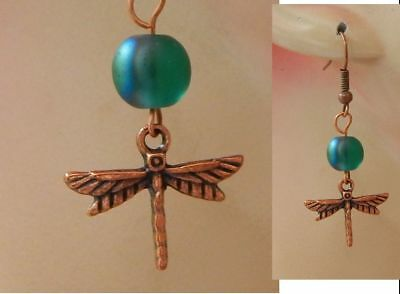 Dragonfly Earrings Copper Charm Drop Dangle Handmade Jewelry Accessories NEW