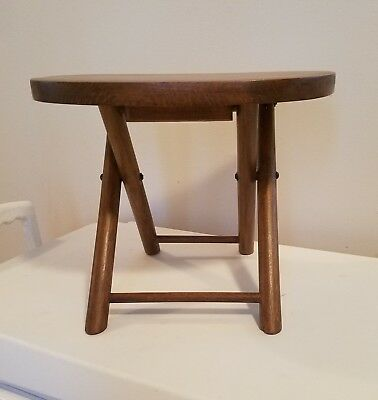 Vintage Nevco Fold 'N Carry Stool Portable Seat 1950's - Restained 35 Years Ago