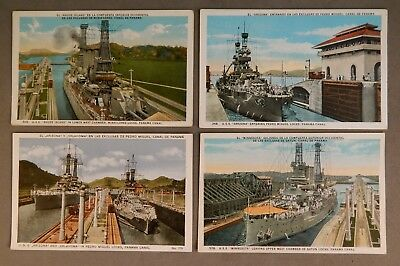 Set of Four Vintage Ca. 1920's Postcards War Ships Passing Through Panama Canal
