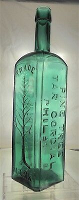 Wishart's Pine Tree Tar Cordial Antique Medicine / Tonic Bottle. Teal. Large.