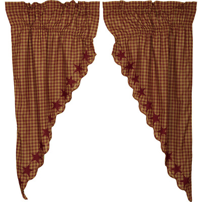 Burgundy Star Scalloped Cotton Country Cottage Window Prairie Curtains