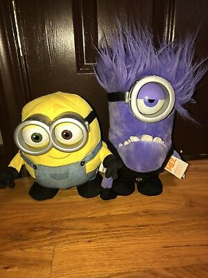 Thinkway Despicable ME 2 Lot Purple Evil Minion & Bob Light Up Talking Dancing