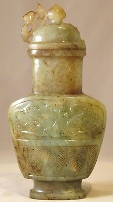 Antique Chinese  Green Jade Hu Archaic Form Vase -Mughal