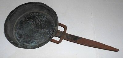 Primitive Hand Hammered Copper Sauce Pan With Wrought Iron Trident Handle