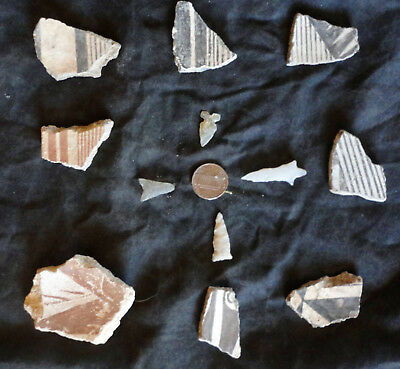Eight  Black-On-White Mimbres Shards Along With Four Excellent Bird Points