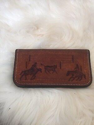 Western Wallet Billfold Mens Tooled Leather Calf Roper cowboy