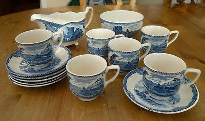 Vintage Blue and White Transfer Printed Coffee Set 14 pcs Irish Castles design