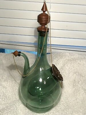 Vintage Hand Blown Green Glass Wine Saki Decanter Bottle Ice Pocket Wood Accents