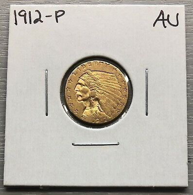 1912-P $2.50 Indian Head Gold Coin About Uncirculated AU