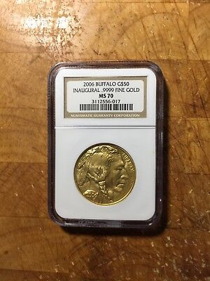 2006 $50 Gold Buffalo Innaugural .9999 Fine Gold NGC MS70