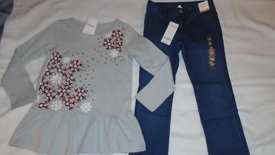 NEW Girls Size 6-7 Gymboree Outlet Outfit Sequin Snowflake Tunic & Skinny Jeans