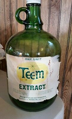 Teem Soda Pop Syrup Extract one Gallon green glass jug w/ paper label RARE!