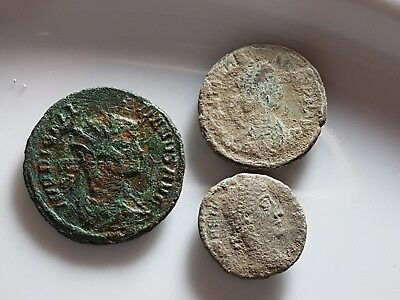 Lot Of 3 Ancient Roman Bronze Coins Diocletian Vot Xx