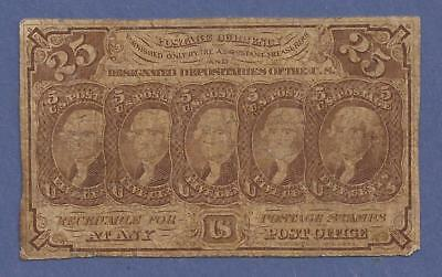 1862-1863 1st Issue 25¢ Fractional Currency Fr 1281,Jefferson Bust,Fine,Nice!