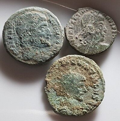 Lot Of 3 Ancient Roman Bronze Coins Uncleaned Constantine I