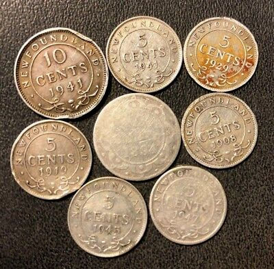 Old Canada (NEWFOUNDLAND) Coin Lot - 8 Low Mintage Silver Coins - Lot #923