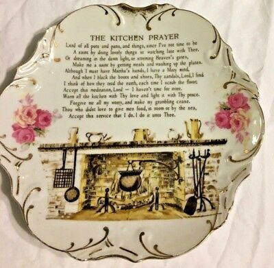 """Vintage Porcelain Wall Hanging Gold Trim Plate The Kitchen Prayer Lord of Pot 8"""""""