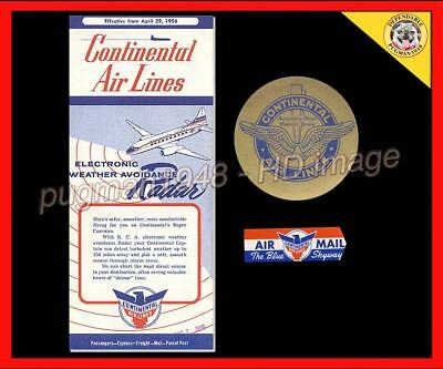 CONTINENTAL AIRLINES 1956 AIRLINE TIMETABLE SCHEDULE..Plus 2 rare extra items