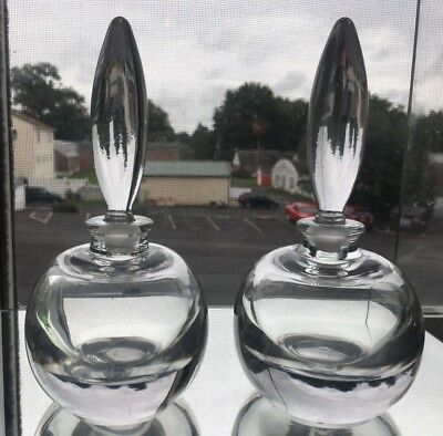 A Vintage Pair of High Quality Clear Glass Perfume Bottles w/ Polished Bottoms