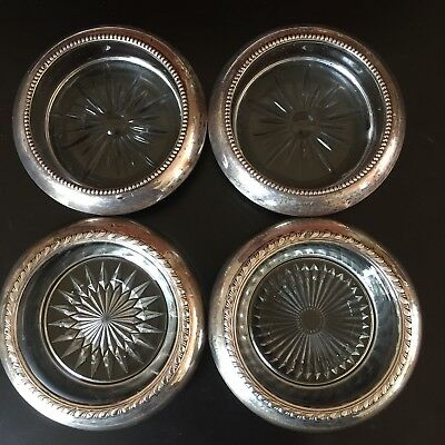 Lot 4 Frank M Whiting Sterling Silver & Glass Coasters 2 Whiting 2 Sterling Mark
