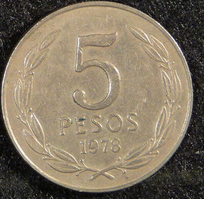 1978 Chile 5 Peso Coin     F200