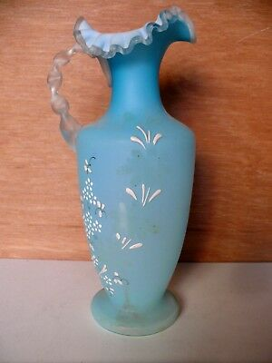 Victorian Blue Satin Glass Jug Ruffled Edge Hand Painted