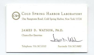 SCARCE Dr. James Watson signed business card - FATHER of DNA Nobel Laureate