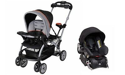 Baby Trend Sit N Stand Ultra Double Stroller With Car Seat Millennium Orange
