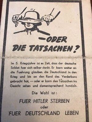 """Original WWII 2 US Propaganda Leaflet to German Soldiers """"Live for Germany"""""""