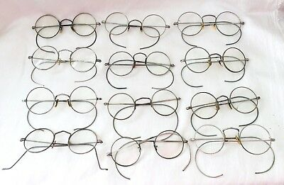 Antique Lot of 12 Silver Tone / White Metal Round SPECTACLES - AS-IS-AS-SHOWN